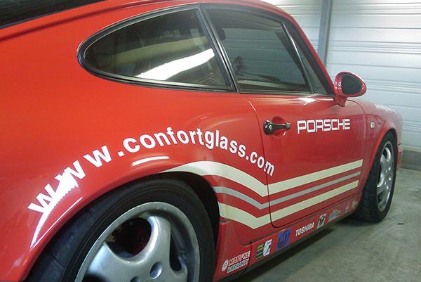 Vitres sécurisées Film de Sécurité anti-déflagrant pour course automobile, Film sécurité vitrage Porsche 964 circuit