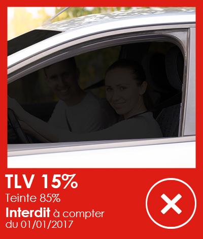 Réglementation automobile, Vitres teintées TLV 15%