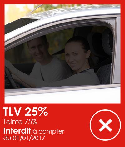 Réglementation automobile, Vitres teintées TLV 25%