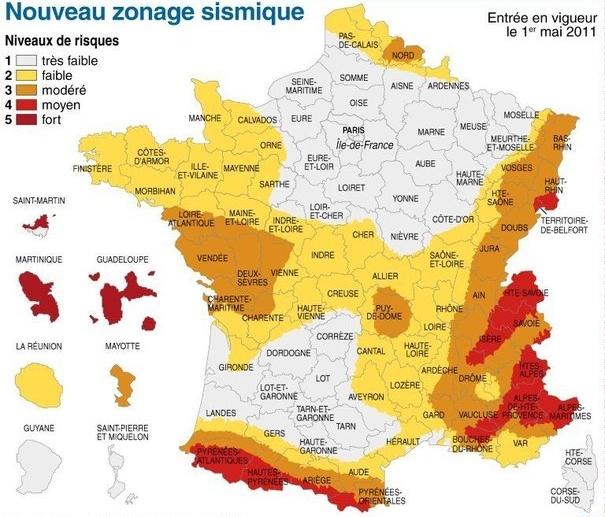 Carte zone sismique séisme en France 2011