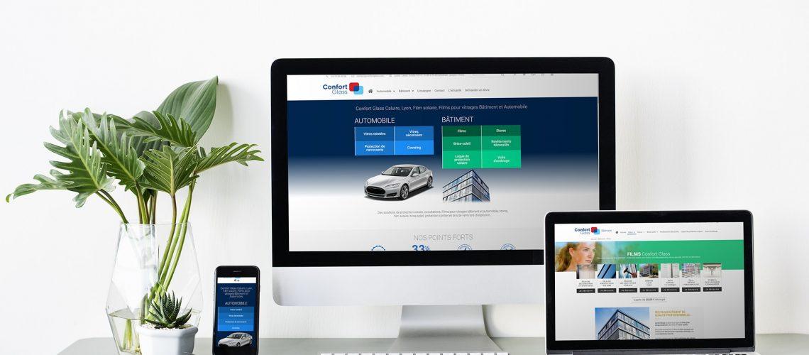 Site internet Confort Glass Bâtiment, Automobile, Caluire, Lyon, Nouveau site web ConfortGlass